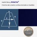 Matratzendecke aus feinem Leinenstoff Marineblau, für Schiffmatratze Trapez Form