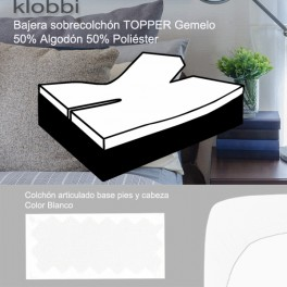Fitted sheet TOPPER mattress, 50% cot. 50% pol. white