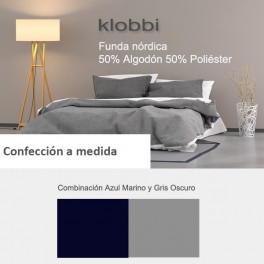 Duvet cover 50% cotton 50% polyester light blue-dark grey
