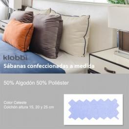 Bettlaken 50% Baumw. 50% Polyester hellblau