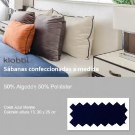 Bettlaken 50% Baumw. 50% Polyester Marine blau