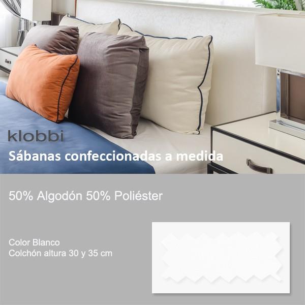 Sábana 50% Alg. 50% pol. Blanco 30 y 35 cm