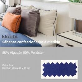 Sábana 50% Alg. 50% pol. Azul 30 y 35 cm
