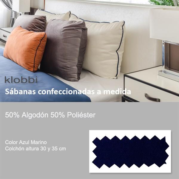 Sábana 50% Alg. 50% pol. Azul Marino 30 y 35 cm