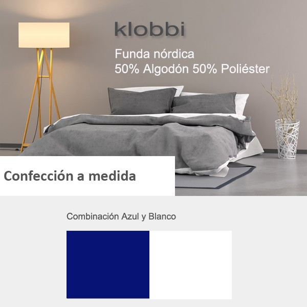 Funda nórdica 50% Alg. 50% pol. Azul-Blanco
