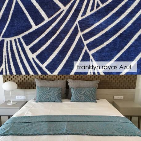 Plaid 100 cm para cama Franklyn Rayas Azul