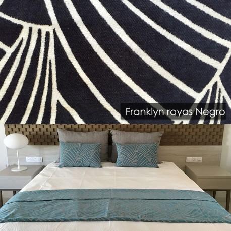 Plaid 100 cm para cama Franklyn Rayas Negro