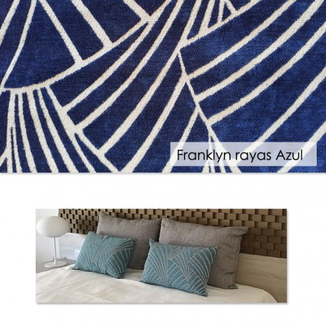 Funda cojín Franklyn Rayas Azul