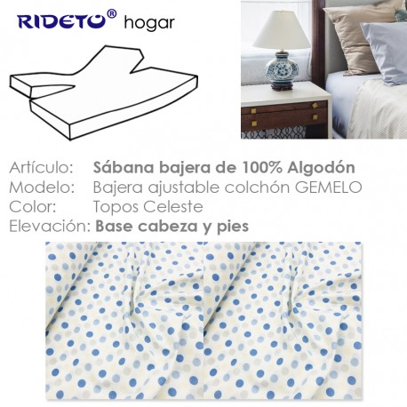 Fitted sheet for articulated bed Topos blue