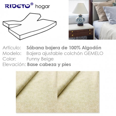 Fitted sheet for articulated bed Funny Beige
