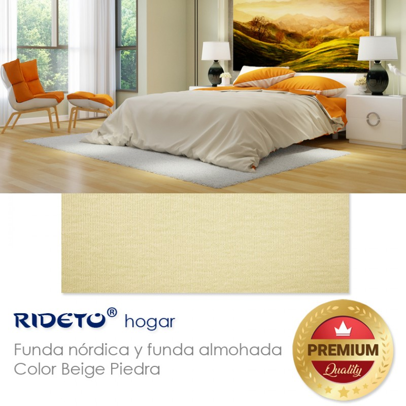 Duvet cover on knit fabric plain color Beige stone