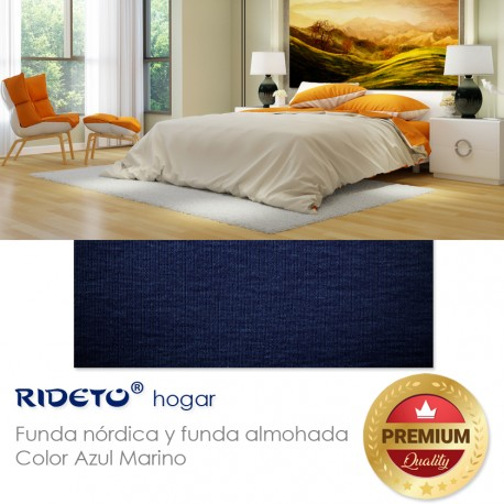 Funda nórdica punto Algodón lisa Azul Marino