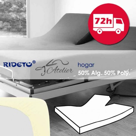 Fitted sheet articulated bed coton and polyester white