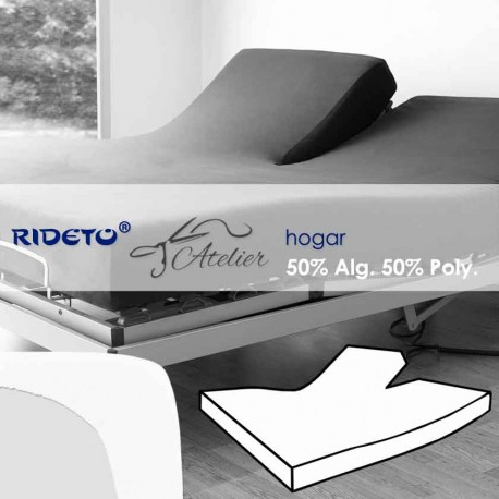 Fitted sheet articulated bed 50% cot. 50% pol. white