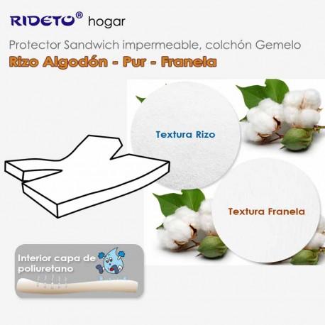 Deluxe Protector impermeable Rizo Algodón + Franela Algodón