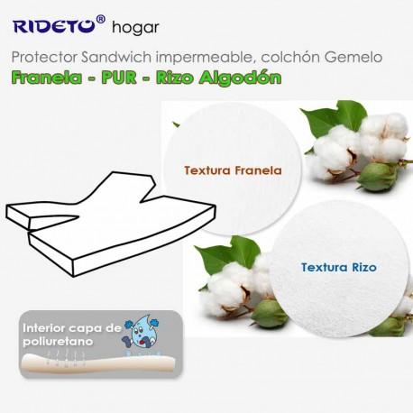 Deluxe Protector impermeable Franela + Rizo Algodón GEMELO