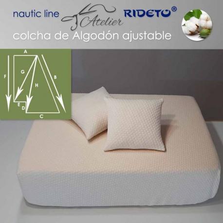 Deluxe Matratzendecke mit Gummizug für Schiffmatratze halb-Trapez recht ecke inv. Cuadros Natur