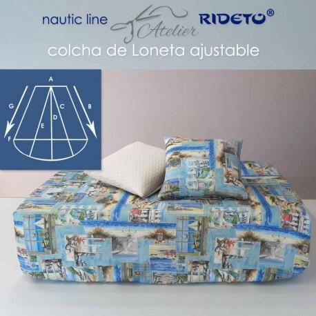 Matratzendecke aus feinem Leinenstoff Romantic, für Schiffmatratze Trapez Form