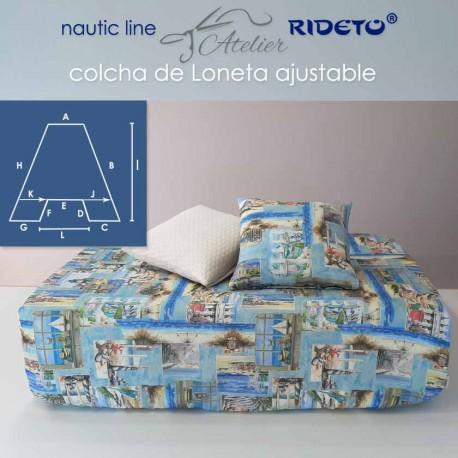 Matratzendecke aus feinem Leinenstoff Sailor, für Schiffmatratze Trapez Form