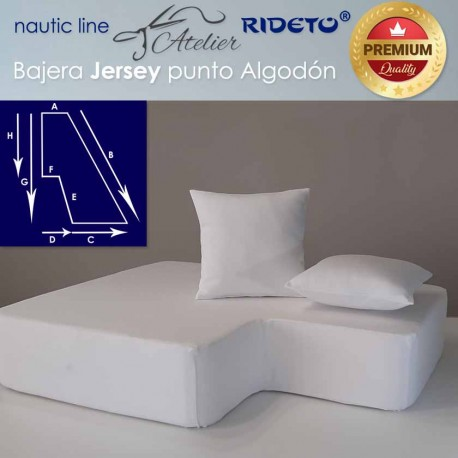 Boat Fitted sheet made of  Jersey Premium fabric,half V-Berth shape
