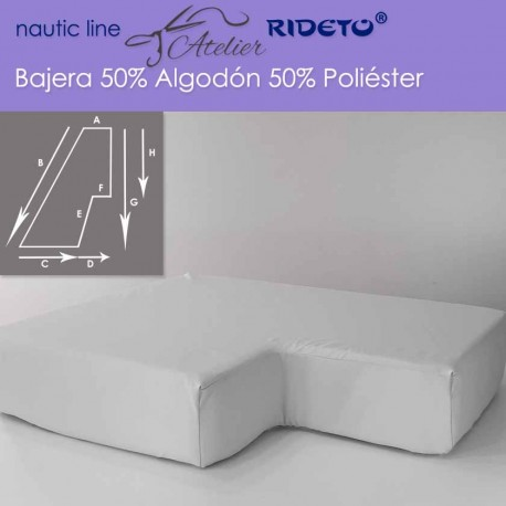 Fitted sheet fabric 50/50 Cot-Poly for boat mattress halt-trapezoid left