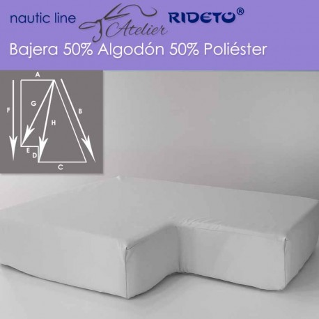 Fitted sheet fabric 50/50 Cot-Poly for boat mattress shape Trapeze inv .corner