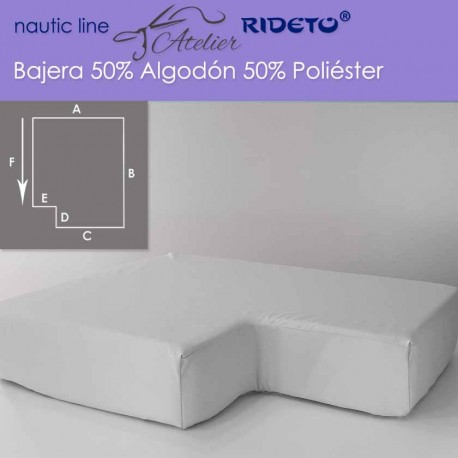 Fitted sheet fabric 50/50 Cot-Poly for boat mattress shape inv. corner left