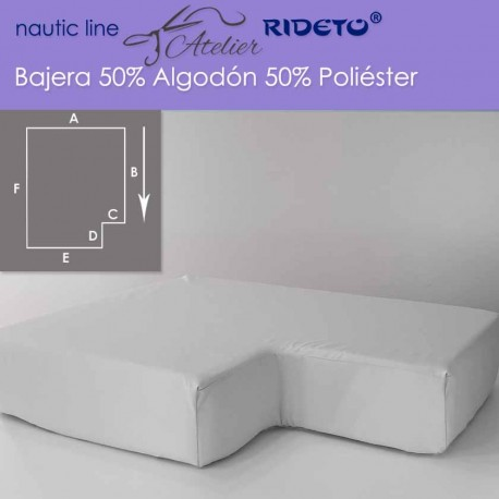 Fitted sheet fabric 50/50 Cot-Poly for boat mattress shape inv.corner right