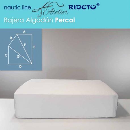 Bajera ajustable de Algodón Percal, colchón barco Rectangular Chaflán izq.